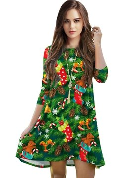 Christmas Style Loose Casual Christmas Tree Pattern 3D Painted Dress