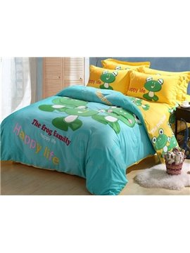 Pretty Lovely Frog Family Print 4-Piece Cotton Duvet Cover Sets