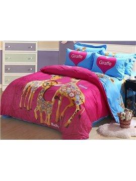 Lovely Giraffe Family Print 4-Piece Cotton Duvet Cover Sets