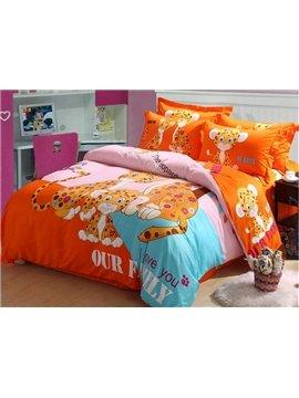 Adorable Leopard Print 4-Piece Cotton Duvet Cover Sets