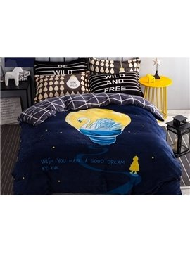 Dreamy Swan Print 4-Piece Flannel Duvet Cover Sets