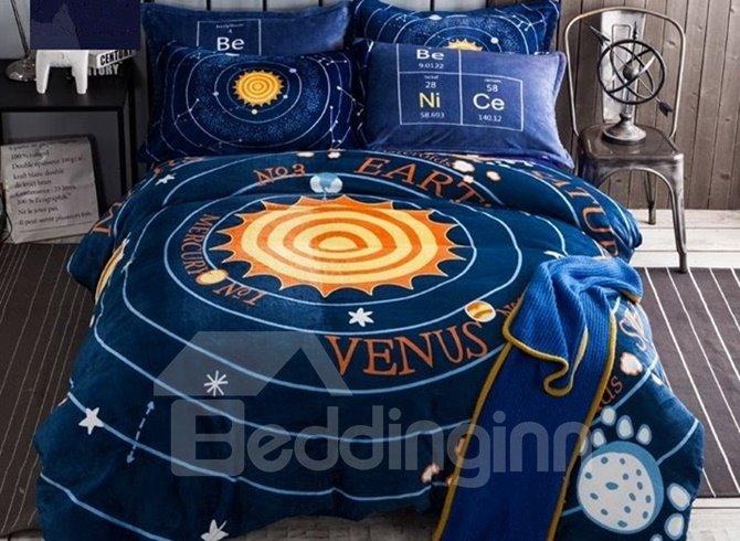 Amazing solar system print 4 piece flannel duvet cover sets - Solar system comforter set ...