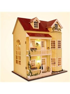 Creative Luxury Miniature DIY Dollhouse with LED Light Birthday Valentine Gift