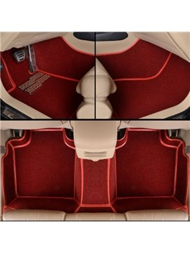 Special Red Seam Design Durable PVC And Velvet Material Dedicated Car Carpet