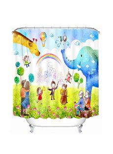 Happy Family Playing in the Zoo Printing Bathroom 3D Shower Curtain