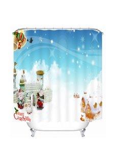 Cute Santa and Warm Village Printing Christmas Theme Bathroom 3D Shower Curtain