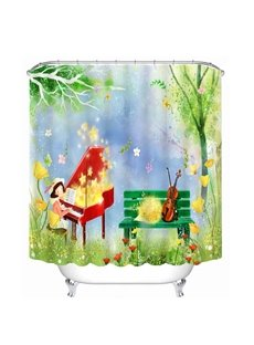 Cartoon Lovely Girl Playing Piano in the Field Printing Bathroom 3D Shower Curtain