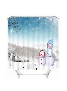 Cute Snowmen in Winter Printing Christmas Theme Bathroom 3D Shower Curtain