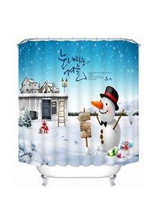 Cartoon Cute Snowman and Magic Castle Printing Christmas Theme Bathroom 3D Shower Curtain