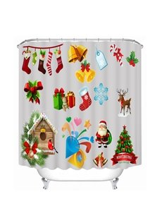 Clip Art Christmas Representation Printing Bathroom 3D Shower Curtain