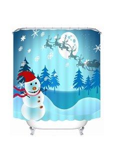 Lovely Cheer Snowman Running Printing Christmas Theme Bathroom 3D Shower Curtain