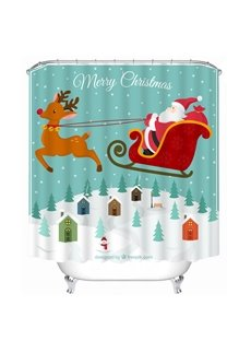 Clip Art Santa Riding Reindeer in the Air Printing Christmas Theme Bathroom 3D Shower Curtain