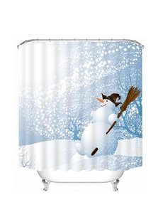 Cartoon Witch Snowman Printing Christmas Theme Bathroom 3D Shower Curtain