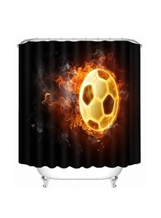 A Fire Football Printing Bathroom 3D Shower Curtain