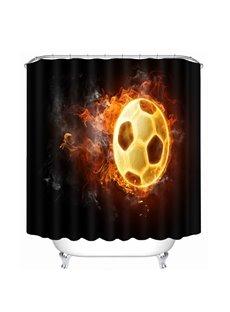 A Fire Football Printing Bathroom 3D Shower Curtain