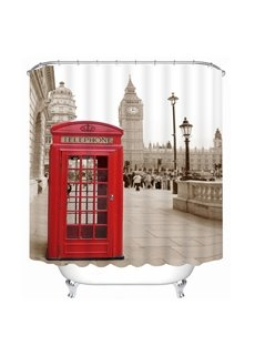 Red Telephone Box in London Printing Bathroom 3D Shower Curtain