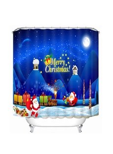 Cartoon Santa Transporting Gifts Printing Christmas Theme Bathroom 3D Shower Curtain
