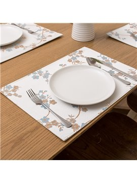 Fresh Fabric Rectangle Plum Blossom Pattern Heat Resistant Home Decorative Table Placemat