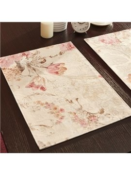 Elegant Flower Pattern Heat Insulation Stain Resistant Decorative Table Placemat