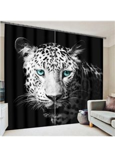 Ferocious Snow Leopard with Green Eyes Printing 3D Curtain