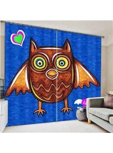 Clip Art Cute Owl Printing Polyester 3D Curtain