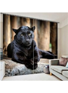 Ferocious Crouching Panther Printing 3D Curtain