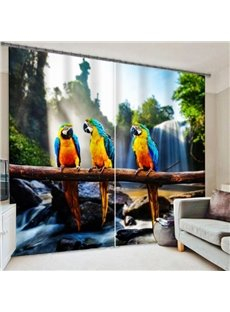 Vital Three Colorful Parrots on the Tree Printing 3D Curtain