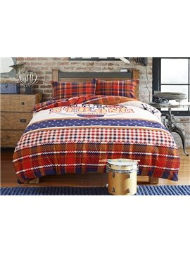 Western Style Plaid 4-Piece Cotton Duvet Cover Sets