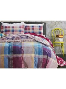 Modern Colorful Plaid Design 4-Piece Cotton Duvet Cover Sets