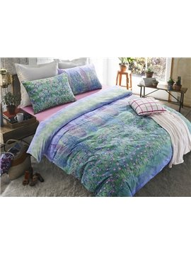 Romantic Ocean Of Flowers Print 4-Piece Cotton Duvet Cover Sets