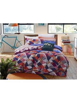 Colorful Abstract Geometric Pattern Print 4-Piece Cotton Duvet Cover Sets