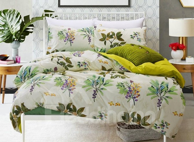 Hawaiian Print Comforters: Tropical Plant Print 4-Piece Cotton Duvet Cover Sets