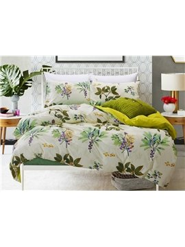 Tropical Plant Print 4-Piece Cotton Duvet Cover Sets
