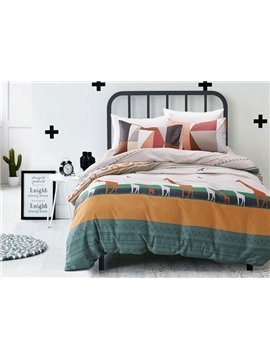 Charming Prairie Print 4-Piece Cotton Duvet Cover Sets
