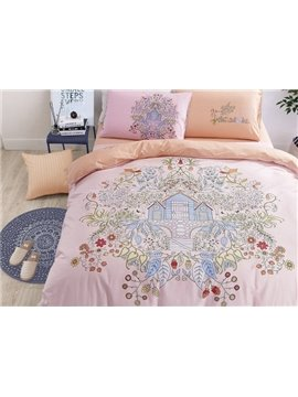 Doodle Art Flowers and House Print 4-Piece Cotton Duvet Cover Sets