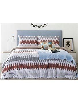 Unique Zig Zag Print 4-Piece Cotton Duvet Cover Sets