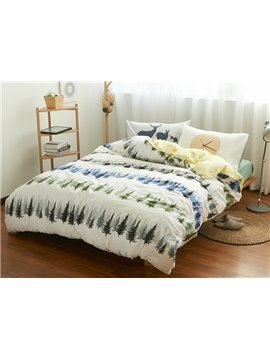 Fancy Pine Tree Print 4-Piece Cotton Duvet Cover Sets