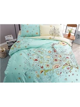 Beautiful Watering Pot and Floral Print 4-Piece Cotton Duvet Cover Sets