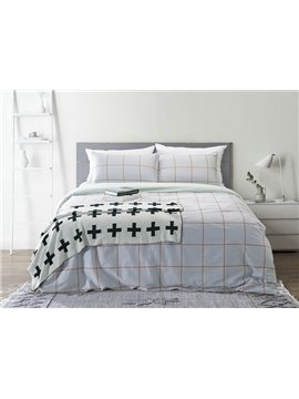 Neutral Plaid Print Skin Care Cotton 4-Piece Duvet Cover Sets