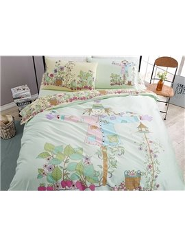 Adorable Scarecrow Print 4-Piece Cotton Duvet Cover Sets