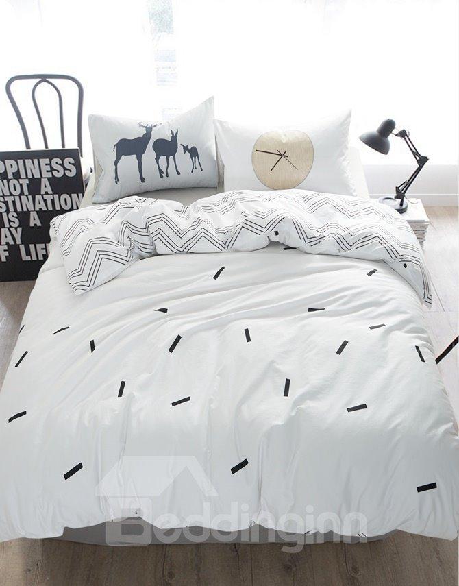 Minimalist style skin care white 4 piece cotton duvet for Minimalist bedding sets