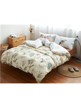 Pastoral Style Birds and Leaves Print 4-Piece Cotton Duvet Cover Sets