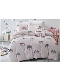 Concise Zebra Couple Print 4-Piece Cotton Duvet Cover Sets