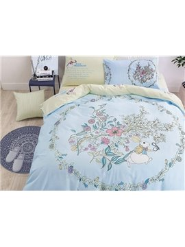 Likable Bunny and Jacobean Print 4-Piece Cotton Duvet Cover Sets