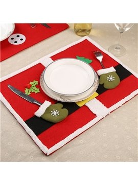 Red Fabric Christmas Decorative with Two Lovely Gloves Washable Table Placemat