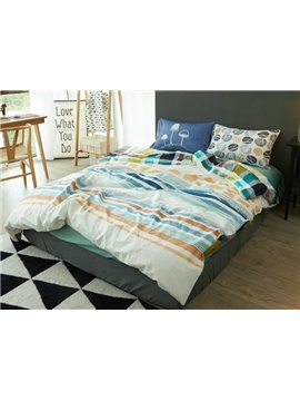 Urban Stripe Print Reversible 4-Piece Cotton Duvet Cover Sets