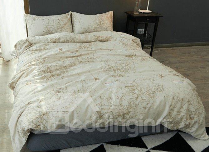 Unique Nautical Theme Design 4-Piece Cotton Duvet Cover
