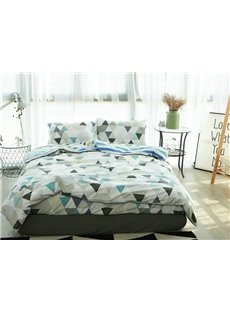 Minimal Design Triangle Print 4-Piece Cotton Duvet Cover Sets