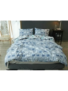 Chic Arrow and Letter Print 4-Piece Cotton Duvet Cover Sets