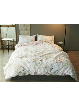 Pastoral Style Flower Print 4-Piece Cotton Duvet Cover Sets